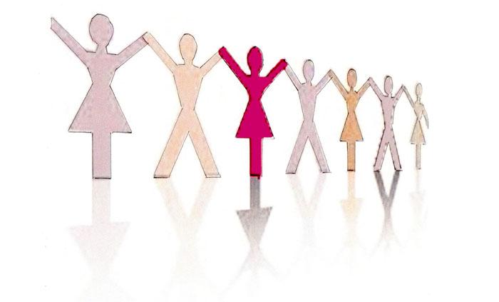 Grafik mit stilisierten Figuren, die einander an den Händen halten