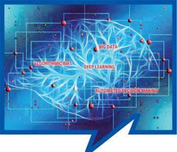 Blaues Symbolbild Algorithmen mit Netzwerkstruktur